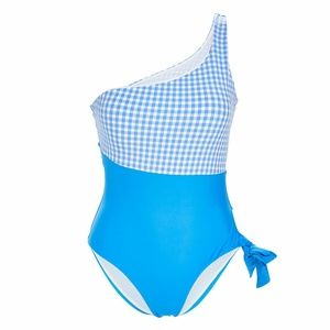 Vigoss Blue White Gingham Check One Piece Swimsuit